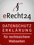 Siegel von eRecht24 für sicher Datenschutzerklärung